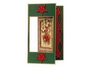 BASTELSETS / CRAFT KITS: Christmas Cards Set: 3D Die cut sheets, poinsettia, including 4 double cards