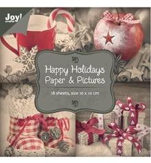 """Joy!Crafts und JM Creation Paper block 10 x 10 cm, """"Happy Holidays"""""""