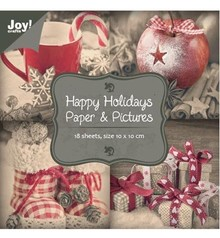 "Joy!Crafts und JM Creation Papir blok 10 x 10 cm, ""Happy Holidays"""