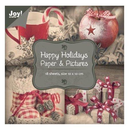 "Joy!Crafts und JM Creation Papierblock 10 x 10 cm, ""Happy Holidays"""
