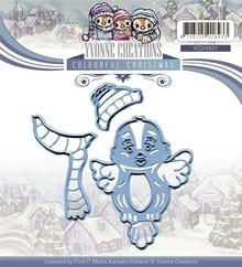 Yvonne Creations Taglio e stencil goffratura, uccello carino con sciarpa e cappello, pronta per l'inverno!