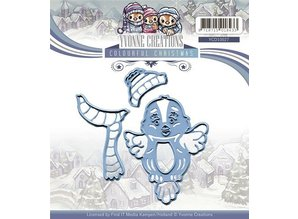 Yvonne Creations Cutting and embossing stencils, cute bird with scarf and hat, ready for winter!