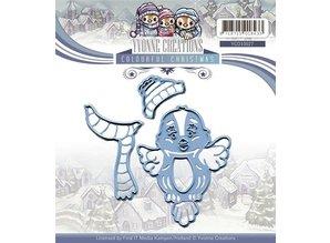 Yvonne Creations Skæring og prægning stencils, fugl cute med tørklæde og hat, klar til vinteren!