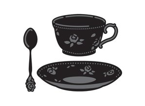 Marianne Design Cutting and embossing stencils, coffee cup, saucer and spoon