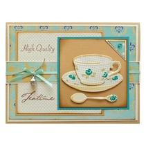 Corte y estampado en relieve plantillas, taza de café, platillo y cuchara