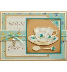 Marianne Design Taglio e goffratura stencil, tazza di caffè, piattino e cucchiaio