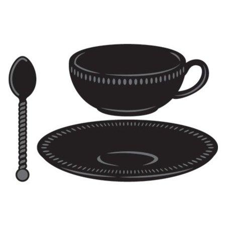 Marianne Design Corte y estampado en relieve plantillas, de té, plato y cuchara