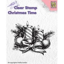 Gennemsigtige frimærker, Nellie Snellen, jul krans med stearinlys