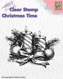 Nellie snellen Gennemsigtige frimærker, Nellie Snellen, jul krans med stearinlys