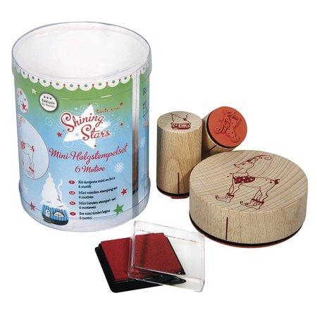 """Stempel / Stamp: Holz / Wood Specialudgave: Mini træ stempel sæt """"Shining Stars"""""""