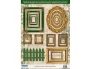 Embellishments / Verzierungen Die cut sheets picture frame, with gold, 17 parts
