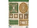 Embellishments / Verzierungen Stanzbogen Bilderrahmen, mit gold, 17 Teile