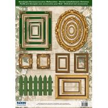 Die hojas cortadas marco de imagen, con oro, 17 partes