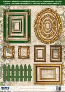 Embellishments / Verzierungen Die cut ark billedramme, med guld, 17 dele