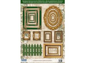 Embellishments / Verzierungen Die cut sheets picture frame, with gold, 17 parts