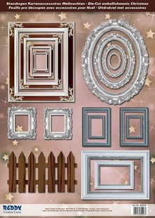 Embellishments / Verzierungen Die cut sheets Picture Frames, with silver, 17 parts