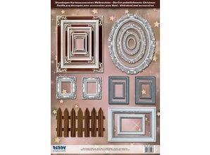 Embellishments / Verzierungen Stanzbogen Bilderrahmen, mit silber, 17 Teile