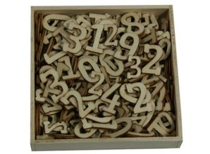 Objekten zum Dekorieren / objects for decorating Ornament box, numbers big and small, 256 pieces