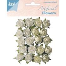 Kunststoff Blüten: Rosen weiß/creme