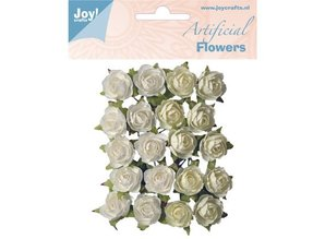 Embellishments / Verzierungen Plastic flowers: roses white / cream