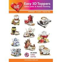 """3D stansning motiver Bastelset: """"Kaffe og te"""", 1 sæt = 10 forskellige 3D motiver!"""