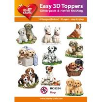 """3D motivos perforación Bastelset: """"Perros"""", 1 juego = 10 motivos diferentes en 3D!"""