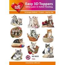 """3D ponsen motieven Bastelset: """"Cats"""", 1 set = 10 verschillende 3D motieven!"""