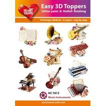 """3D stansning motiver Bastelset: """"Musik Instruments"""", 1 sæt = 10 forskellige 3D-motiver!"""
