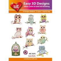 """3D stansning motiver, Bastelset: """"Owl"""", 1 sæt = 10 forskellige 3D-motiver!"""