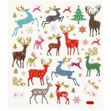 """Sticker Adesivi foglio autoadesive con grandi motivi di Natale """"renna"""" e l'effetto di scintillio"""