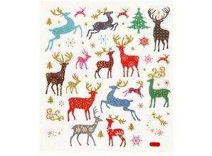 """Sticker Selvklæbende folie klistermærker med store julemotiver """"rensdyr"""" og glitter effekt"""