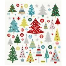 """Sticker Adesivi foglio autoadesive con grandi motivazioni """"alberi di Natale"""" e effetto scintillio"""