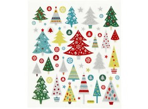 "Sticker Self-adhesive foil stickers with great motives ""Christmas trees"" and glitter effect"