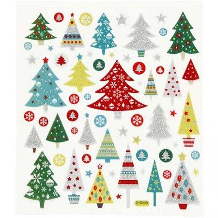 """Sticker Selvklæbende folie klistermærker med store motiver """"juletræer"""" og glitter effekt"""