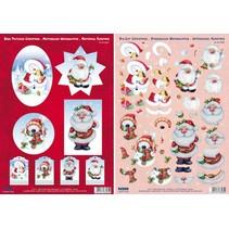 3D hojas cortadas Die Navidad, 4 motivos diferentes para el diseño de 4 tarjetas