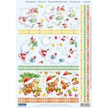 """3D Die cut ark """"Jul"""", 3 forskellige bjørne motiver for at designe 3 kort"""