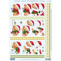 """3D-Stanzbogen """" Weihnachten"""", 3 verschiedene Bärchen-Motive zur Gestaltung von 3 Karten"""