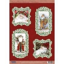 Stanzbogen, Weihnachtsmann, 4 verschiedene Motive zur Kartengestaltung
