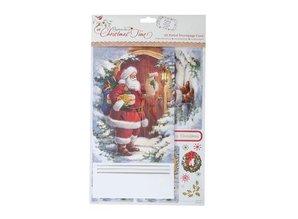 Exlusiv Bastelset: A5 tarjeta Decoupage - En Navidad (Papá Noel)