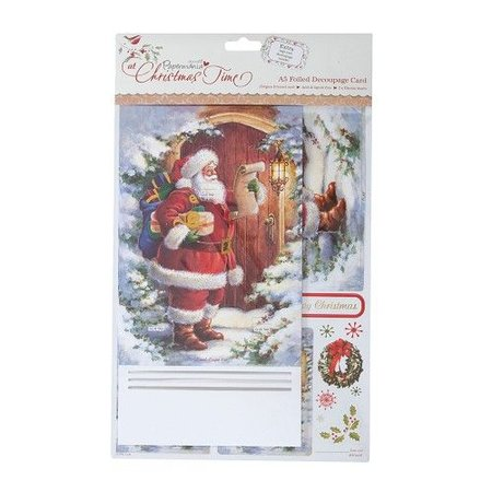 Exlusiv Bastelset: A5 Decoupage Card - At Christmas Time (Father Christmas)