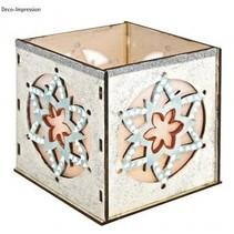 Holz- Bastelset Teelichter Halter, mit Stern Motiv, 9,5x9,5x10cm, mit 15 Sternen