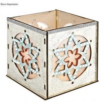 Wooden Bastelset tealights holder, with star motif, 9,5x9,5x10cm, with 15 stars