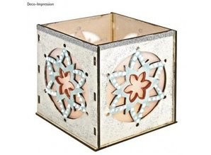 Objekten zum Dekorieren / objects for decorating Wooden Bastelset tealights holder, with star motif, 9,5x9,5x10cm, with 15 stars