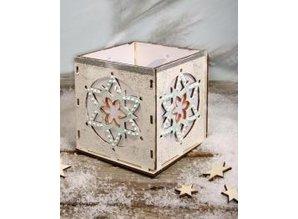 Objekten zum Dekorieren / objects for decorating Holz- Bastelset Teelichter Halter, mit Stern Motiv, 9,5x9,5x10cm, mit 15 Sternen