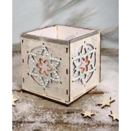 Objekten zum Dekorieren / objects for decorating Madera titular candelitas Bastelset, con motivo de estrella, 9,5x9,5x10cm, con 15 estrellas