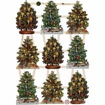 Traditionelle glansbilleder med smukke print motiv: Vintage juletræer