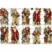 Traditionelle Glanzbilder mit wunderschönem Druckmotiv : Vintage Weihnachtsmänner