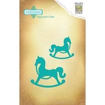 Snijden en embossingstencils Vintasia dieren, 2 paarden Schauckel