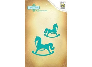 Nellie snellen Cutting and embossing stencils Vintasia animals, 2 horses Schauckel