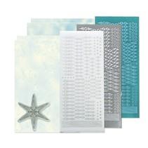Bastelset: Star mærkat stempel sæt, sølv, hvid og blå